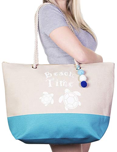 - Extra Large Canvas Beach Tote, Top Zipper Closure, Rope Handles, 2 Inner Pocket, Wooden Charm, Pom Pom, Built-In Inner Backing for Extra Durability - L21
