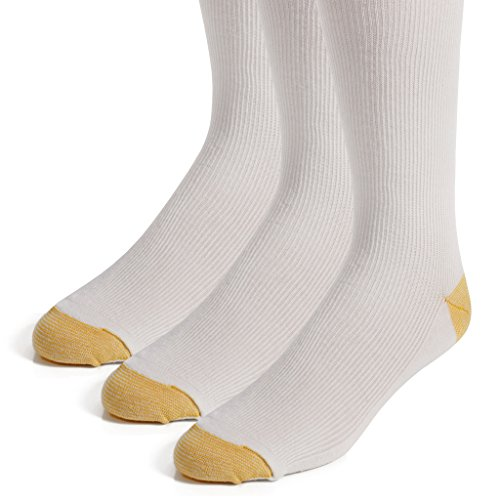 The Right Fit Mens Long Colonial Cotton Ribbed Warm Boot Knee High Loafer Socks, White, 3 Pack, 10-13