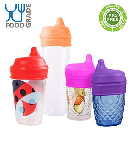 Tiny Angel 4-Pack Silicone Sippy Lids/Tops ~ BPA Free ~ For Any Cup
