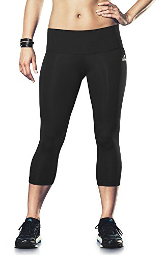 adidas Performance Women's Performer Mid-Rise 3/4 Tights, Black/Matte Silver, X-Small