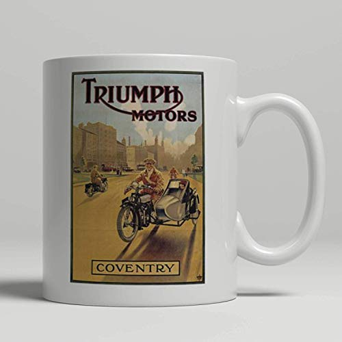 Novelty Coffee Mug Triumph Motorcycle Side Car Vintage Advertising Poster Printed On A New Mug Loving All Things Art Deco And Retro Birthday Gift 11OZ