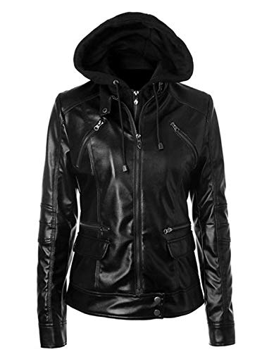UZ Global Electra Motorcycle Biker Stylish Black Real Leather Jacket Women ()