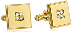 Men's 18k Gold Plated Cufflinks with Simulated Diamond Accent Yellow Cuff-Links