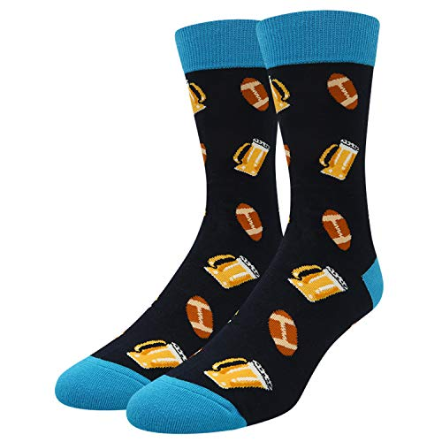 Men's Novelty Funny Golf Poker Socks Crazy Colorful Donut Beer Dice Casual Crew Sports Socks (beer ball)