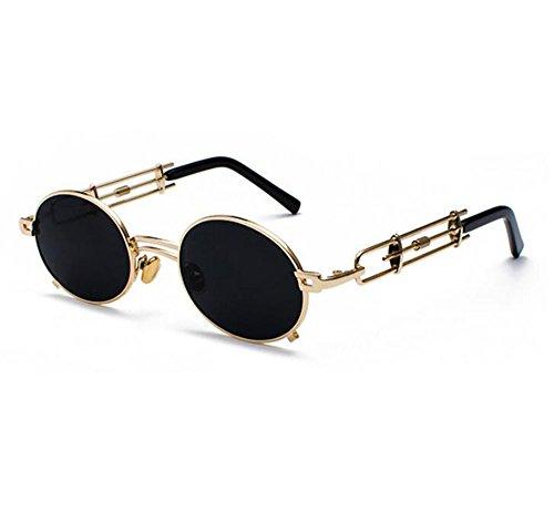 UV400 sol lente personalidad Lentes la vintage no de retro de oval de la Dorado Gris Marco tendencia la del Steampunk de de polarizado Uw8X5
