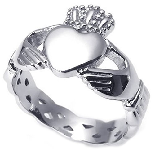 Epinki Men's Stainless Steel Jewelry Rings Hand Love Hearts Crown Shape Silver,Size 12