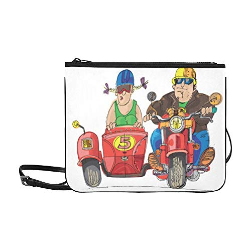 Animation Motorcycle Pattern Custom High-grade Nylon Slim Clutch Bag Cross-body Bag Shoulder Bag