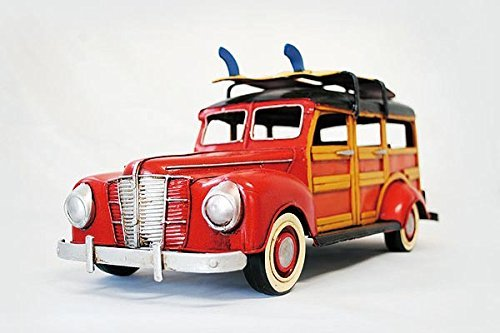 Tin toy tin toy car antique classic car Ford Woody Wagon-style Red -