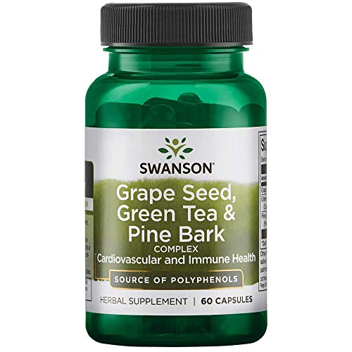 Swanson Grape Seed Green Tea & Pine Bark Complex Heart Cardiovascular Immune Support Health Antioxidant Healthy Blood Pressure Support Polyphenols OPCS Herbal Supplement 60 Capsules (Caps)