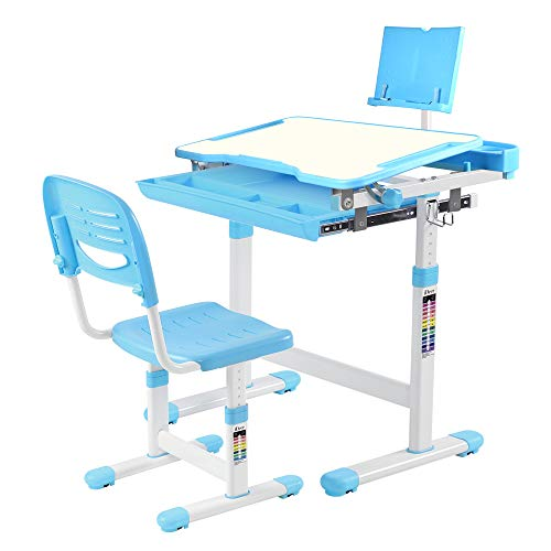 Desktop Kids - IDEER LIFE Children's Desk and Chair Set, Height Adjustable Kids Student School Study Desk Table Work Station with Drawer Storage, Tilting Desktop &Bookstand for Children,Kids,Boys&Girls (Blue 04002)