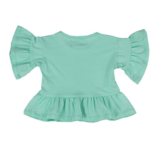 3e02fa70 Wennikids Little Girls' Double Ruffle Solid Tank Top T-Shirt Short Sleeve  Small Aqua