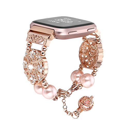 FOHUAS Compatible for Fitbit Versa Band, Adjustable Handmade Pearl Bling Rhinestone Dressy Bracelet Women Girl Wristband withEssential Oil/Perfume Storage Pendantfor Fitbit Versa (Rose Gold)
