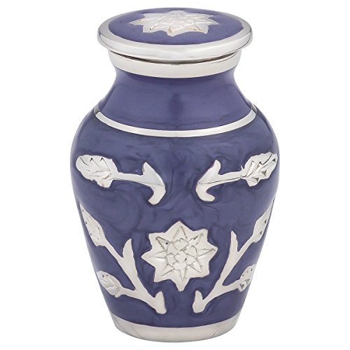 Silverlight Urns Grace Lilac Keepsake Urn, Mini Brass Urn in Purple, 2.75 Inches Tall