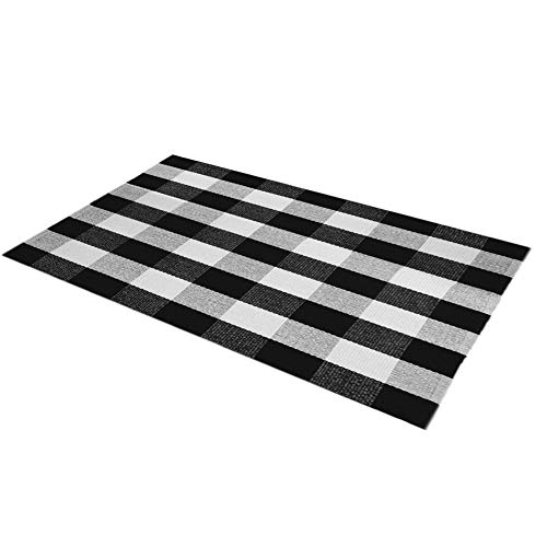 Levinis Cotton Rugs 3 x 5 - Retro Farmhouse Lattice Area Rugs - Black and White Checkered Plaid Rug for Front Porch/Kitchen/Bedroom