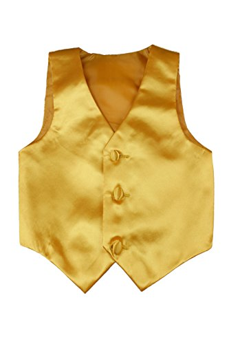Baby Toddler Kids Little Boys Formal 23 Color Satin Vest S-7 (7, Yellow) (Vest Holiday Boys)