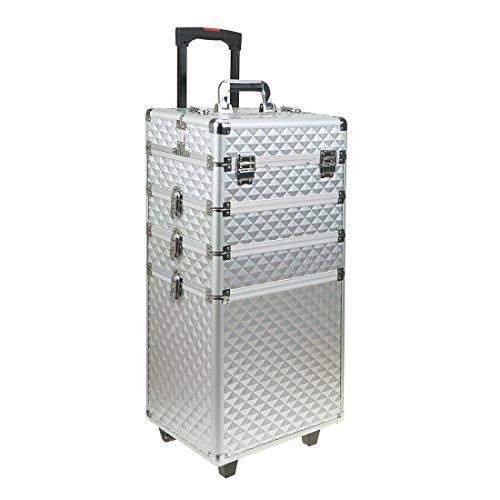 Professional 4-in-1 Portable Aluminum Rolling MakeupTrain Case Wheel Cosmetic Organizer Travel Brush Bag Holder with DIY Adjustable Divider Key Lock Travel (US STOCK) by Damaier