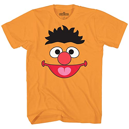 Sesame Street Ernie Face Tee Funny Humor Pun Youth Kid's Graphic T-Shirt (Orange, Medium (14/16))