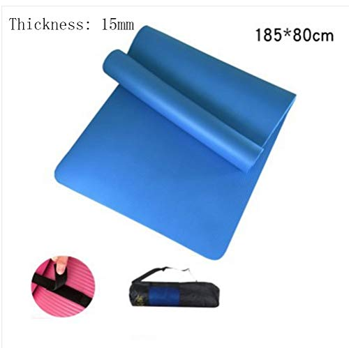 Mdck Yoga Pad,Fitness Mat 185cm Single Pad Yoga Mats Thickened 15mm Wide 80cm with Breathable Network Package