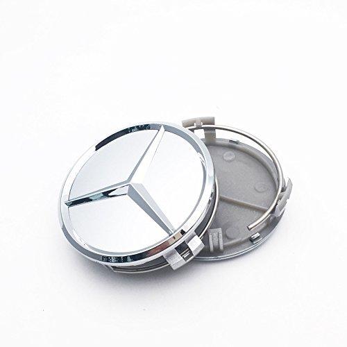 ALT MERCEDES SET OF 4 SILVER CENTER WHEEL HUB CAPS 75MM COVER CHROME EMBLEM CAP LOGO (Silver) (4 Wheel Auto Center)