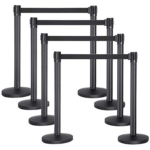 Yaheetech Stanchion Post/Rope/Sign/Set with 6.5 Foot Retractable Belt - Easy Connect Assembly ()