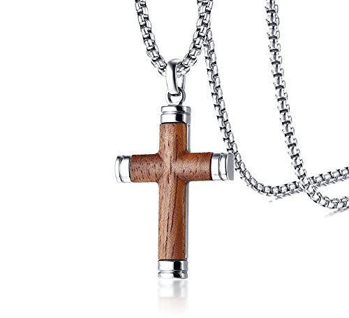 PJ Jewelry Mens Stainless Steel Hawaiian Koa Wood Cross Pendant Necklace for Christian Baptism,His Gift Cross Tag Sterling Silver Pendant
