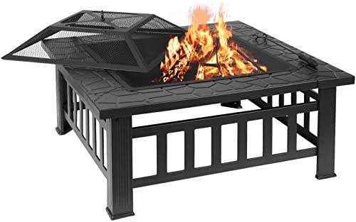 femor 32 Fire Pit Table Outdoor, Multifunctional Patio Backyard Garden Fireplace Heater BBQ Ice Pit, Square Stove with Barbecue Grill Shelf and Waterproof Cover