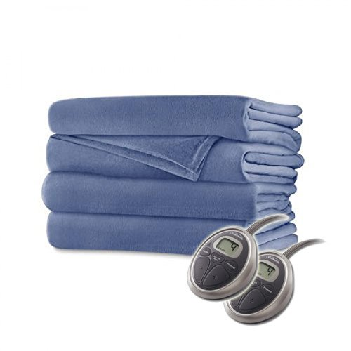 Sunbeam Luxurious Velvet Plush KING Heated Blanket with 20 Heat Settings, Auto-off, 2-Digital Controllers, 5 Yr Warranty (Dusty Blue)