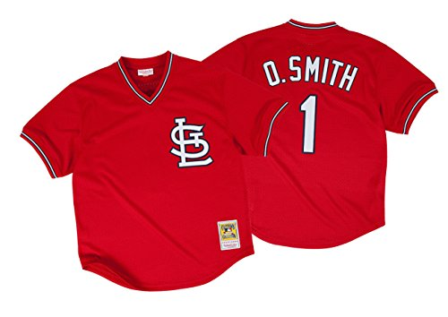 Batting Jersey (Ozzie Smith St. Louis Cardinals Red Authentic Mesh Batting Practice Jersey (Small))