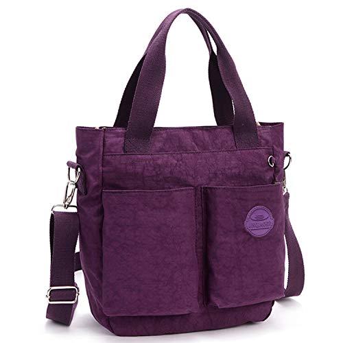 Bag Bag Mommy Handbag Style Water Resistant Chou Nylon Women Tote body Purple for Cross Tiny Lightweight wf7qz