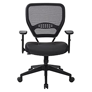SPACE Seating Professional AirGrid Dark Back and Padded Black Eco Leather Seat, 2-to-1 Synchro Tilt Control, Adjustable…