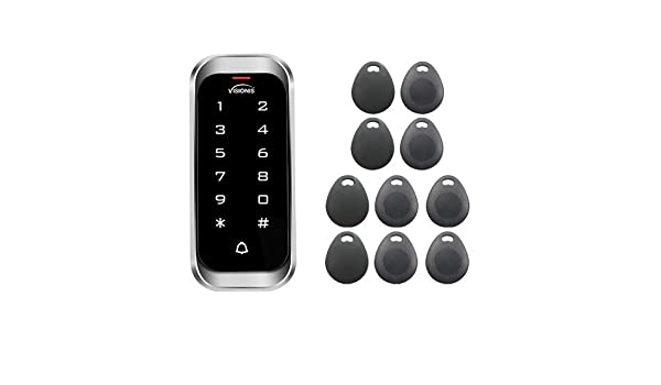 Visionis VIS-3000 Access Control Outdoor Weatherproof Metal Housing Anti Vandal and Anti Rust Digital Touch Keypad and Reader Standalone No Software 125khz EM Cards Compatible with Doorbell