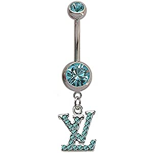 Stainless steel belly button ring LV with CZ crystals – Packed in a lovely gift box