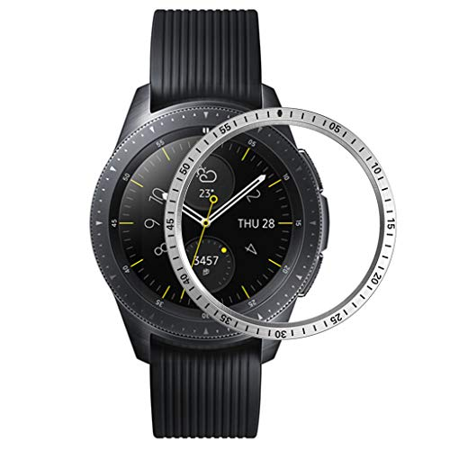 Morrivoe Bezel Ring Bezel Ring Adhesive Cover Anti Scratch Metal Compatible with Samsung Galaxy Watch 42MM Silver