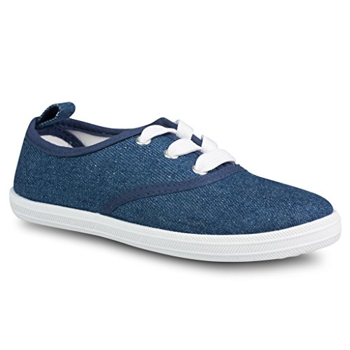 Twisted Girl's Canvas Tennis Shoe - DENIM, Size 4