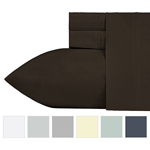 400 Thread Count 100% Cotton Sheet Set, Chocolate Brown Queen Sheets, 4 Piece Set Long-staple Combed Pure Natural Cotton Bedsheets, Breathable, Soft Sateen Weave Sheet Sets by California Design Den