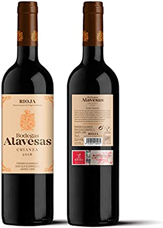 Bodegas Alavesas – Vino Tinto Crianza 2018 Denominación de Origen Calificada Rioja, Variedad Tempranillo, 12 meses en barrica – Caja de 6 botellas x 750 ml – Total: 4500 ml