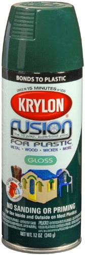 Krylon 2324 'Fusion for Plastic' Hunter Green Plastic Paint - 12 oz. Aerosol (Chairs Wicker White Painting)