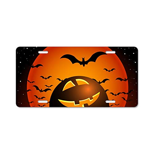 nadoab Car License Plate Frame,Halloween Night Alumina License Plate Covers with Free Screws Fasteners + Screw -