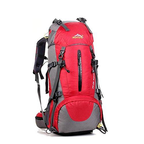 LINGE-Bolsa de montañismo al aire libre durante mucho tiempo gran capacidad mochila impermeable tiendas de campaña para hombres y mujeres 50L , deep blue Red