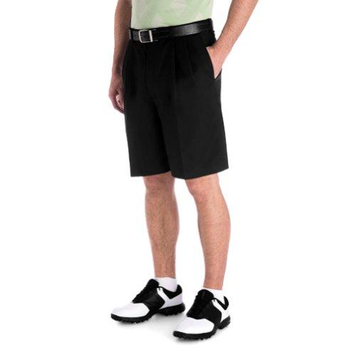 Haggar Big Men Cool 18 Microfiber Pleat Golf Shorts (Black 33)