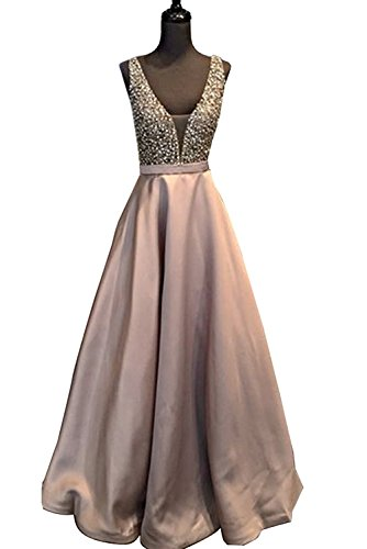 Baijinbai Gorgeous V Neck Beaded Crystal Brown Long Prom Dresses 2017 Custom Made Sexy Floor Length Evening Dress Long Formal Party Gowns S5Dustypink-UK14