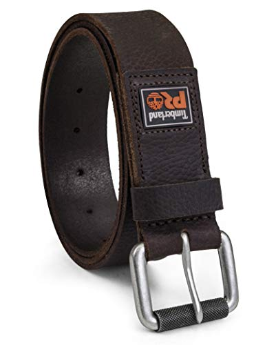 Timberland PRO Men's 38mm Boot Leather Belt, Dark brown (rubber Patch), 36