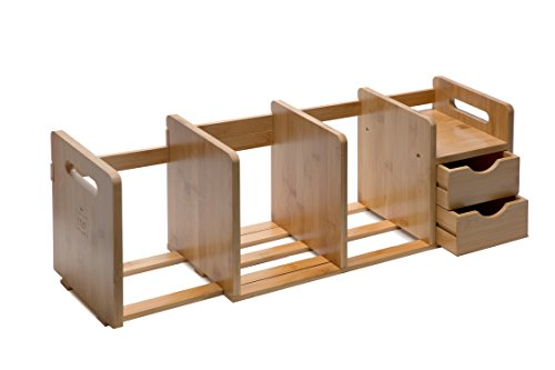 Adjustable File Dividers (Bamboo Wood Desk Organizer Rack with Two Drawers, Three Expandable Book or File Compartments, Adjustable, for Home or Office, by IDK Luxury)