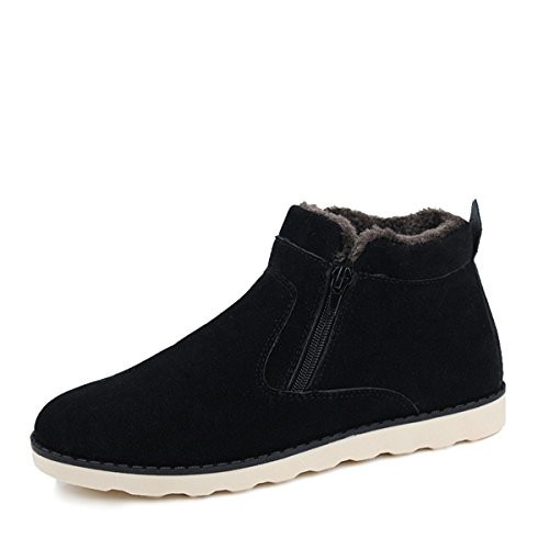gracosy Men's Warm Snow Boots, Winter Ankle Warm Booties Non Slip Velvet Zipper Cotton Boots Black 42 (Booties Cotton)