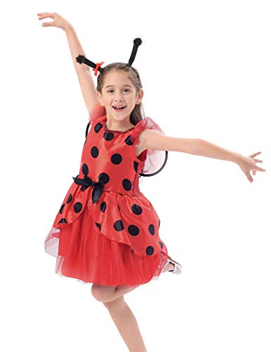 IKALI Girls Ladybug Costume for Kids, Ballerina Beetle Wings Fancy Dress up Outfit, Miraculous Ladybug Skirt Suit -