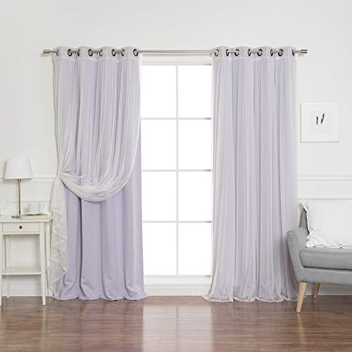 Best Home Fashion Mix & Match Tulle Sheer Lace & Blackout Curtain Set - Antique Bronze Grommet Top - Lilac - 52
