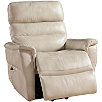 AC Pacific Contemporary Faux Leather Upholstered Rail Power Reclining Lift Living Room Gaming Chair, Cream