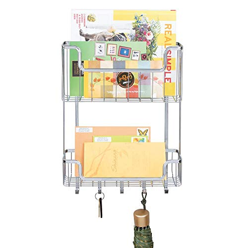 (mDesign Two Tier Wall Mount Mail, Letter Holder, Key Rack Organizer for Entryway, Kitchen or Mudroom - Chrome)
