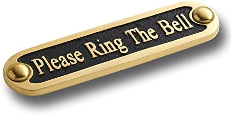 Self Adhesive Door Sign 5 inch x 3 inch Please Ring For Attention Brass Plate