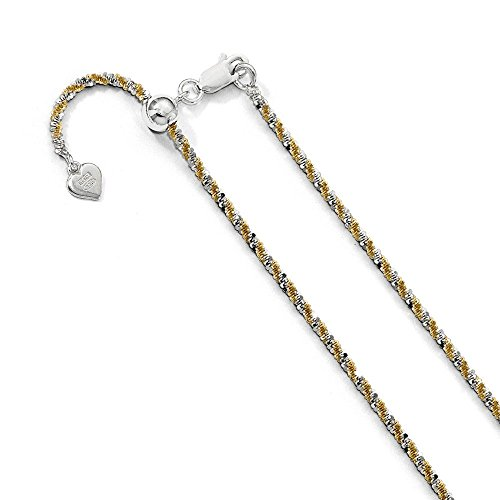 PriceRock Sterling Silver Gold-Plated Adjustable Cyclone Chain Necklace 22 Inches -